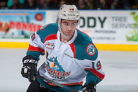 KELOWNA, CANADA - MARCH 1: Dillon Dube #19 of the Kelowna Rockets skates against the Prince George Cougars on MARCH 1, 2017 at Prospera Place in Kelowna, British Columbia, Canada.  (Photo by Marissa Baecker/Shoot the Breeze)  *** Local Caption ***