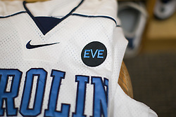 """22 March 2008: North Carolina Tar Heels jersey with """"Eve"""" embroidered on the shoulder to remember murdered student body president Eve Carson before the team played the Maryland Terrapins at Fetzer Field in Chapel Hill, NC."""