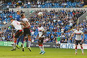 Aden Flint (5) of Cardiff City heads a shot at goal during the EFL Sky Bet Championship match between Cardiff City and Middlesbrough at the Cardiff City Stadium, Cardiff, Wales on 21 September 2019.