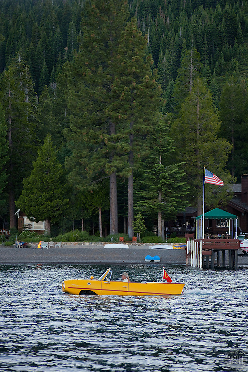 """Amphicar on Lake Tahoe"" - This 1960's German amphibious car, the Amphicar, was photographed ""driving"" on Lake Tahoe, CA."