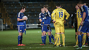 Sam Walker (Halifax) gets hold of the ball, ready to place it to take the free kick just outside of the box. The free kick leads to Halifax's equaliser during the Conference Premier League match between FC Halifax Town and Guiseley at the Shay, Halifax, United Kingdom on 5 December 2015. Photo by Mark P Doherty.