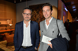Left to right, MARCO BRAMBILLA and ALEX GILKES at the PAD London 10th Anniversary Collector's Preview, Berkeley Square, London on 3rd October 2016.