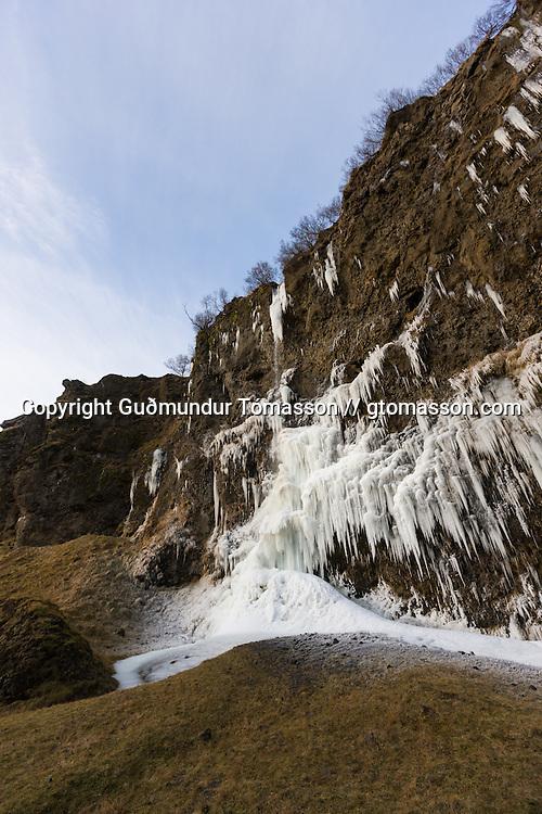 Frozen ice at Þórólfsárgil, Fljótshlíð.