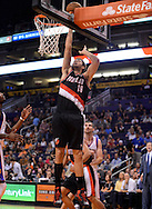 Oct. 12, 2012; Phoenix, AZ, USA; Portland Trail Blazers forward Joel Freeland (19) puts up the ball against the Phoenix Suns at US Airways Center. The Suns defeated the Trail Blazers 104-93.  Mandatory Credit: Jennifer Stewart-US PRESSWIRE.