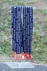 Winners medals await the outcome of England v Australia in the final of the Investec Hockey World League Semi Final 2013, London, UK on 30 June 2013. Photo: Simon Parker