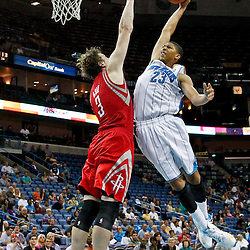 October 24, 2012; New Orleans, LA, USA; New Orleans Hornets power forward Anthony Davis (23) attempts to dunk over Houston Rockets center Omer Asik (3) during the fourth quarter of a preseason game at the New Orleans Arena. The Rockets defeated the Hornets 97-90. Mandatory Credit: Derick E. Hingle-USA TODAY SPORTS
