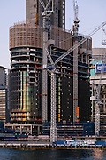 Construction of the new  James Packer Sydney Casino, Barangaroo. Its in a prime location in Sydney and this is the view from Pyrmont Bay area of Sydney. British architects Wilkinson Eyre have been awarded the assignment of designing the dream resort casino at Barangaroo- 17 Sep 2014