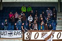 1. divisjon fotball 2018: Aalesund - Mjøndalen. Mjøndalens supportere i førstedivisjonskampen i fotball mellom Aalesund og Mjøndalen på Color Line Stadion.
