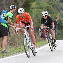 27-09-2014: Wielrennen: WK weg junioren en vrouwen: Ponferrada<br /> WIELRENNEN PONFERRADA SPAIN ROAD RACE WOMEN<br /> Chantal Blaak, Linda Villumsen