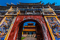 Gate leading to the Hien Lam Pavilion in The Imperial City, a walled palace within the citadel of the city of Huế which is the former imperial capital of Vietnam.