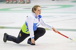 Ana Smolej of Slovenia  during curling match between National teams of Slovenia and Lithuania in 6th Round of European Curling Championship on April 29, 2016 in Ledena dvorana Zalog, Ljubljana, Slovenia. Photo By Urban Urbanc / Sportida