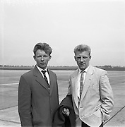 23/05/1957<br /> 05/23/1957<br /> 23 May 1957<br /> F.A.I. Youths team for tour of Germany.<br /> (left) Paddy Turner (Shamrock Rovers); (right) Douglas Boucher (Johnville).