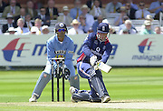 .13/07/2002.Sport - Cricket -NatWest Series Final- Lords.England vs India.Marcus Trescothick sweeping the ball to mid wicket