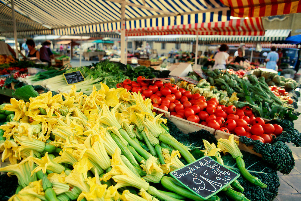 France, Provence, Nice, Zucchini (courgette) at market.