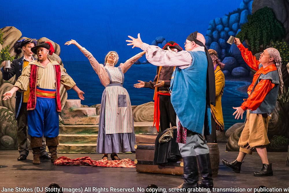 Dress rehearsal for The Pirates of Penzance performed by during the National Gilbert &amp; Sullivan Opera Company Tour in Buxton Opera House Buxton, England on Tuesday 31 July 2018 Photo: Jane Stokes<br /> <br /> DIRECTOR/Richard Gauntlett<br /> CONDUCTOR/Andrew Nicklin<br /> CHOREOGRAPHER/Danielle Dowsett<br /> MAJOR-GENERAL STANLEY/Richard Gauntlett<br /> THE PIRATE KING/Eddie Wade<br /> SAMUEL/Stephen Godward<br /> FREDERIC/Nick Sales<br /> SERGEANT OF POLICE/ Matthew Kellett<br /> MABEL/Ellen Angharad Williams<br /> EDITH/Jennifer Parker<br /> KATE/Stephanie Poropat<br /> ISABEL/Alexandra Hazard<br /> RUTH/Mae Hendorn<br /> <br /> THE CHORUS<br /> Hannah Boxall, Nicole Boardman, Rhiannon Doogan, Joanna Goldspink, Maisy Hepburn, Juliet Montgomery, Julie Power, Eloise Waterhouse, Emma Watkinson<br /> <br /> Andrew Brown, Tom Blackwell, Peter Brooks, Stephen Fawell, Stephen Godward, Michael Vincent Jones, Matthew Siveter, Henry Smith, Jonathan Stevens, Tim Southgate<br /> <br /> TOUR MANAGER/Neil Smith<br /> STAGE MANAGER/Sarah Kent<br /> ASSISTANT STAGE MANAGER/Claire Litton<br /> LIGHTING DESIGN/David Marsden<br /> WARDROBE SUPERVISOR/ David Morgan<br /> SET DESIGN/ Paul Lazell<br /> REPETITEUR/Erica Gundesen