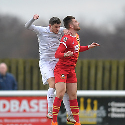 TELFORD COPYRIGHT MIKE SHERIDAN Ross White of Telford battles for a header during the Vanarama Conference North fixture between AFC Telford United and Gloucester City at Jubilee Stadium, Evesham on Saturday, December 28, 2019.<br /> <br /> Picture credit: Mike Sheridan/Ultrapress<br /> <br /> MS201920-037