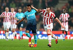 Charlie Adam of Stoke City takes on Wayne Routledge of Swansea City - Mandatory by-line: Robbie Stephenson/JMP - 31/10/2016 - FOOTBALL - Bet365 Stadium - Stoke-on-Trent, England - Stoke City v Swansea City - Premier League