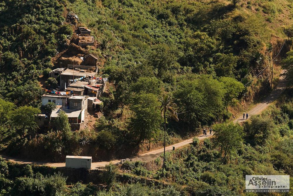 Small village on the hillside near Assomada, Santiago Island, Cape Verde, Africa, Monday December 27, 2010.