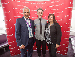 Frank Jahangir, Delta's Vice President Sales – Europe, Middle East and Africa, Alan Cumming and Nadia Clinton from Delta, as Delta launch their new year-round nonstop service from Edinburgh to New York-JFK today at Edinburgh Airport.