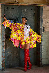 Pictured: Model Hodan Om<br /> Cowboys, falconry and gang culture provided some of the inspiration for University of Edinburgh fashion students, whose work will be displayed between May 18 and 20 this year<br /> <br /> Ger Harley | EEm 19 April 2016