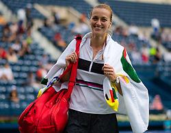 February 19, 2019 - Dubai, ARAB EMIRATES - Petra Kvitova of the Czech Republic celebrates winning her second-round match at the 2019 Dubai Duty Free Tennis Championships WTA Premier 5 tennis tournament (Credit Image: © AFP7 via ZUMA Wire)