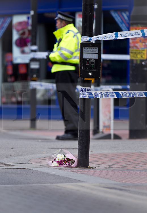 © Licensed to London News Pictures. 07/04/2013.Worksop, UK. Four teenagers have been arrested in connection with the death of a 40-year-old man in Worksop town centre on Saturday night (6 April 2013)..It follows reports of an assault at around 7.30pm in Bridge Street, near its junction with Central Avenue and Ryton Street..The victim was taken to Bassetlaw District Hospital where he was pronounced dead..A murder inquiry is now underway. Formal identification of the victim has yet to take place and a post-mortem examination is due to be conducted to establish the cause of death. Four boys, three aged 15 and one aged 16, remain in custody where they will be questioned by officers today (Sunday 7 April 2013). A cordon is in place at the scene while forensic enquiries are carried out.    Photo credit : Tom Maddick/LNP