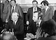 Charles Haughey,New Fianna Fáil Leader  (N5)..1979..07.12.1979..12.07.1979..7th December 1979..Today saw the election of Mr Charles Haughey as leader of Fianna Fáil. Mr Haughey takes over the role after the resignation of Jack Lynch.In a surprise result Mr Haughey beat the party favourite Mr George Colley TD..Image of Mr Charles Haughey TD addressing the media after his appointment as Fianna Fáil leader.