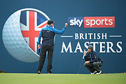 Eddie Pepperell of England punches the air after beating Alexander Bjork of Sweden (right) and winning the British Masters 2018 at Walton Heath Golf Course, Walton On the Hill, Surrey on 14 October 2018. Picture by Martin Cole.