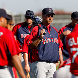 February 23, 2011; Fort Myers, FL, USA; Boston Red Sox manager Terry Francona (center) during spring training at the Player Development Complex.  Mandatory Credit: Derick E. Hingle
