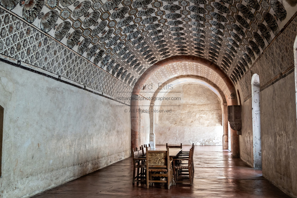 Friars dining room in the San Nicolas Tolentino Temple and Ex-Monastery in Actopan, Hidalgo, Mexico. The colonial church and convent  was built in 1546 and combine architectural elements from the romantic, gothic and renaissance periods.