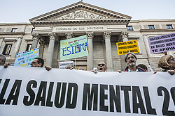 October 10, 2018 - Madrid, Madrid, Spain - Participants of the World Mental Health Day demonstration in front of the Spain Congress in Madrid claim for more support from the government. (Credit Image: © Celestino Arce Lavin/ZUMA Wire)