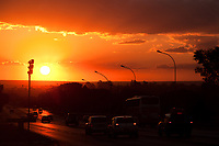 traffic at sunset in  Brasilia city capital of Brazil