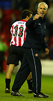 Photo: Chris Brunskill. Wigan Athletic v Sunderland. Coca-Cola Championship. 05/04/2005. Sunderland manager Mick McCarthy salutes the away support after clinching a crucial victory against second placed Wigan