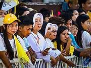 30 NOVEMBER 2017 - YANGON, MYANMAR: Nuns wait with Catholic lay people to see the Pope before the Papal Mass at St. Mary's Cathedral in Yangon. Thursday's mass was his last public appearance in Myanmar. From Myanmar the Pope went on to neighboring Bangladesh.   PHOTO BY JACK KURTZ