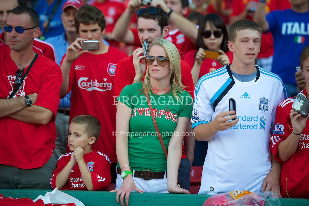 BOSTON, MA - Wednesday, July 25, 2012: A Liverpool supporter during a pre-season friendly match against AS Roma at Fenway Park, home of the Boston Red Sox, the second match of the Reds' North American tour. (Pic by David Rawcliffe/Propaganda)