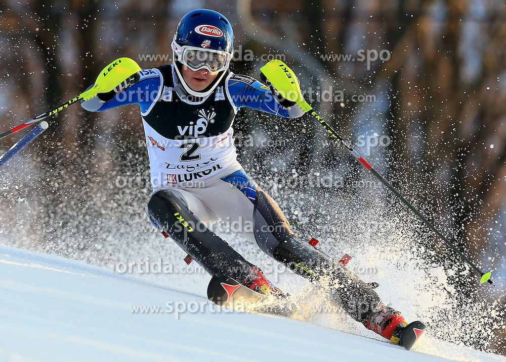 04.01.2013, Crveni Spust, Zagreb, AUT, FIS Ski Alpin Weltcup, Slalom, Damen, 1. Lauf, im Bild Mikaela Shiffrin (USA) // Mikaela Shiffrin of the USA in action during 1st Run of the ladies Slalom of the FIS ski alpine world cup at Crveni Spust course in Zagreb, Croatia on 2013/01/04. EXPA Pictures © 2013, PhotoCredit: EXPA/ Pixsell/ Jurica Galoic..***** ATTENTION - for AUT, SLO, SUI, ITA, FRA only *****
