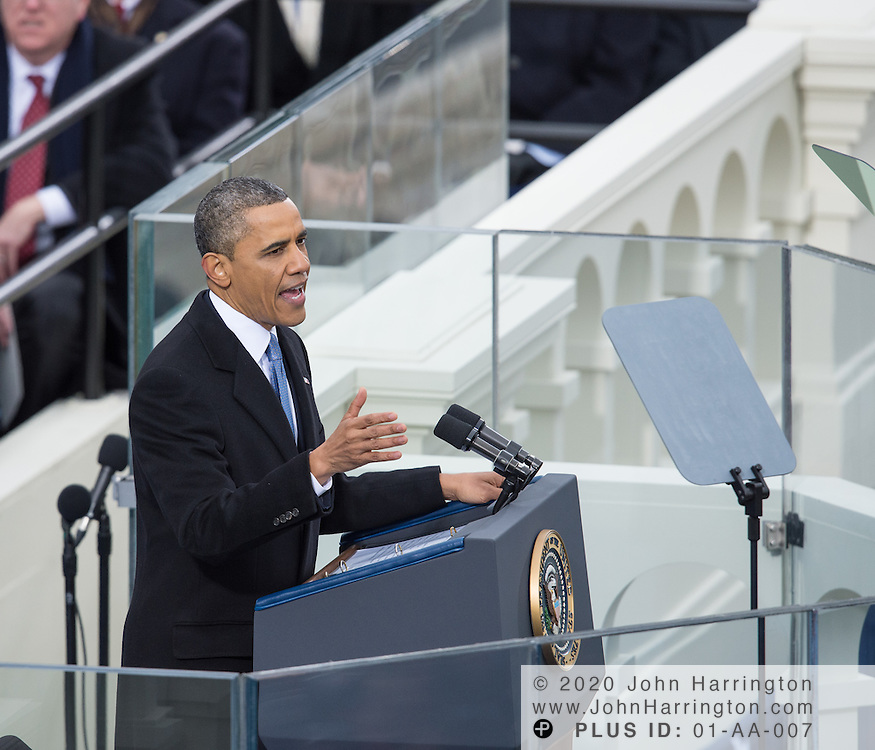 President Obama delivers his second inaugural address during the 57th Presidential Inauguration of President Barack Obama at the U.S. Capitol Building in Washington, DC January 21, 2013.
