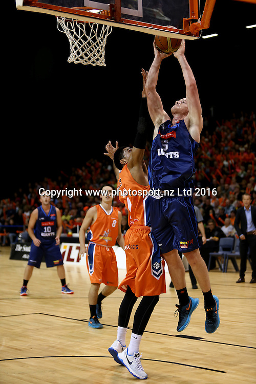 Finn Delany of the Giants takes a shot in the NBL basketball match between the Southland Sharks and Nelson Giants, ILT Stadium Southland, Invercargill, Saturday, March 12, 2016. Photo: Dianne Manson / www.photosport.nz
