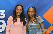 Genzebe Dibaba (ETH), left, and Hellen Obiri (KEN) pose during a news conference at the Intercontinental Doha Hotel-The City, Thursday, May 2, 2019, in Doha, Qatar prior to the 2019 IAAF Diamond League Doha meeting. (Jiro Mochizuki/Image of Sport)