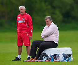 CARDIFF, WALES - Wednesday, May 19, 2010: Wales' manager John Toshack MBE and assistant coach Roy Evans during a training session at the Vale of Glamorgan Hotel ahead of the International Friendly match against Croatia. (Pic by David Rawcliffe/Propaganda)