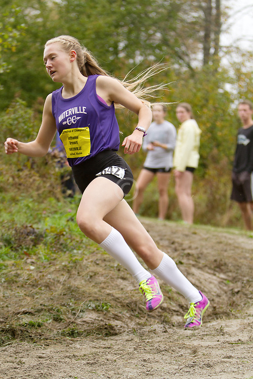 Festival of Champions High School Cross Country meet, Bethanie Brown, Waterville, leads