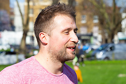 Ross Arnfield, 27, from Guildford gives his views on Brexit on Clapham Common in South London. London, March 24 2019.