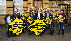 Pictured: <br /> Scottish Liberal  Party leader Willie Rennie joined with local candidates and supporters in Mussleburgh today as part of a whistle stop tour to launch the Scottish Liberal Democrates manifesto for the upcoming council elections<br /> <br /> Ger Harley | EEm 28 February 2017