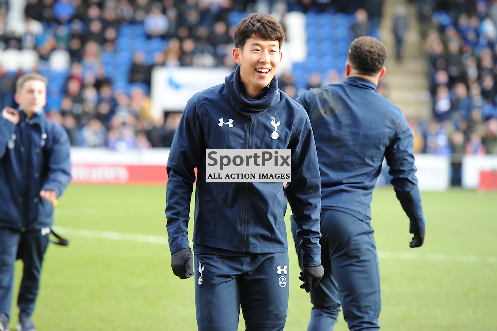 Tottenhams Son Heung-Min prior to the Colchester v Tottenham game in the FA Cup 4th Round on the 30th January 2016.