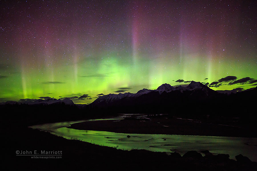 Aurora borealis over the Kootenay River, Mt Selkirk and the Mitchell Range in Kootenay National Park, BC, Canada
