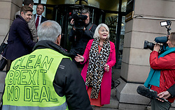 © Licensed to London News Pictures. 16/01/2019. London, UK. A Brexit supporter argues with Member of Parliament for Mitcham and Morden Siobhain McDonagh (centre) outside Portcullis House. Prime Minister Theresa May faces a no-confidence motion in her government this evening after MPs voted down her Brexit deal by a record margin. Photo credit: Rob Pinney/LNP