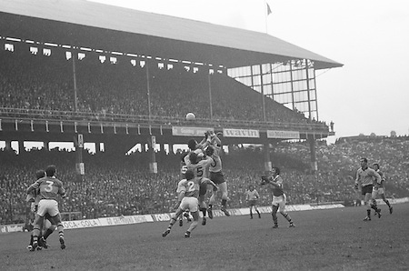 Kerry backs and Dublin forwards jump high trying to get possession of the ball near the kerry goal during the All Ireland Senior Gaelic Football Final, Kerry v Dublin in Croke Park on the 28th September 1975. Kerry 2-12 Dublin 0-11.