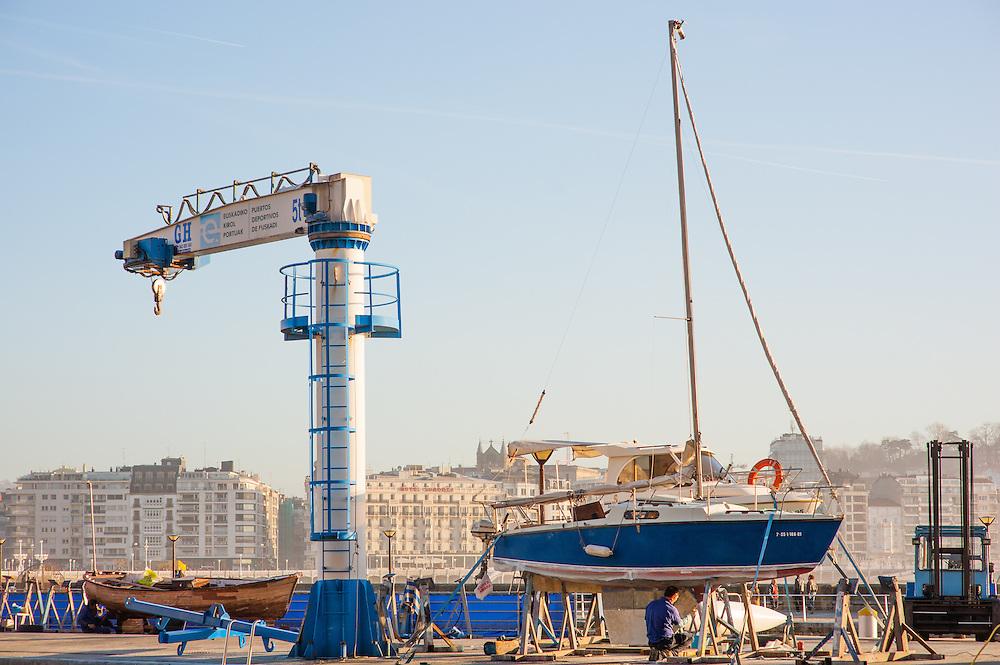 Boat in harbor in San Sebastian (Spain)