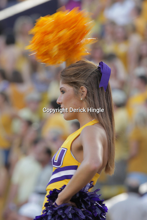 27 September 2008:  A LSU Cheerleader performs for the crowd during the Mississippi State Bulldogs versus the LSU Tigers game at Tiger Stadium in Baton Rouge, LA.