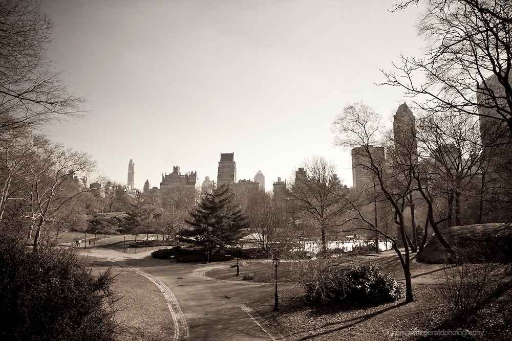 A Sepia Toned Image of the Central Park Skyline and walkways, Taken in Winter.